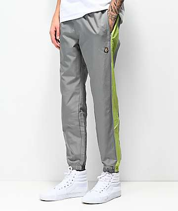 Teddy Fresh Grey & Green Nylon Track Pants