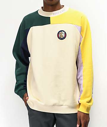 Teddy Fresh Natural Colorblock Mock Neck Sweater