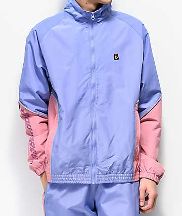Teddy Fresh Periwinkle Blue & Pink Nylon Track Jacket