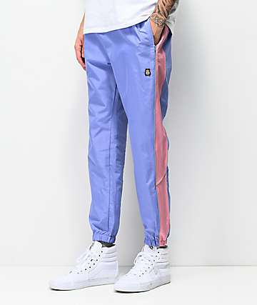 Teddy Fresh Periwinkle Blue & Pink Nylon Track Pants