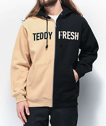 Teddy Fresh Split Black & Tan Hoodie