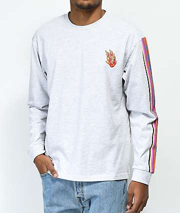 Teddy Fresh Stripe & Flame Long Sleeve T-Shirt