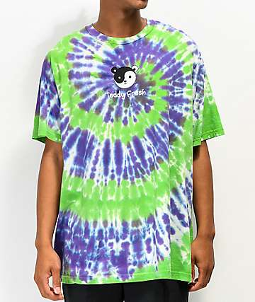 Teddy Fresh Yin Yang Ted Green & Purple Tie Dye T-Shirt