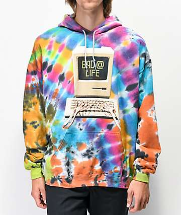 Teenage Bad @ Life Multicolor Tie Dye Hoodie
