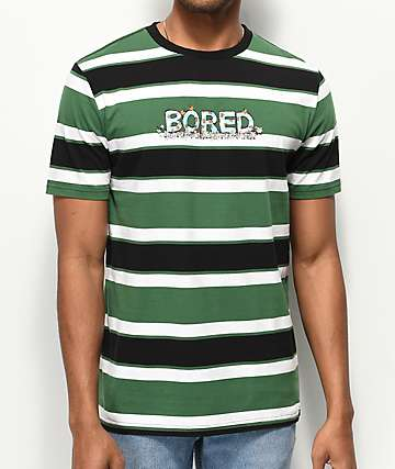 Teenage Bored Black, Green & White Striped T-Shirt