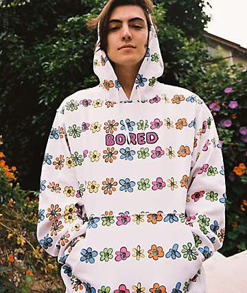 Teenage Bored Flower White Hoodie