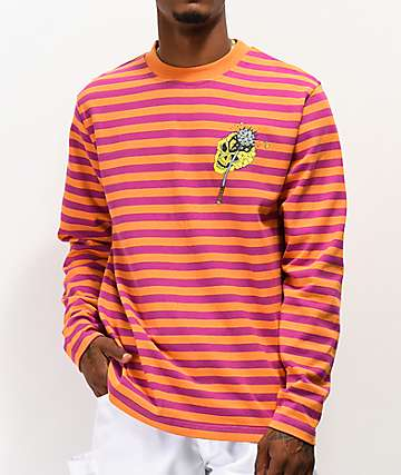 Teenage Hammer Skull Orange & Pink Stripe Long Sleeve T-Shirt