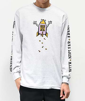 Teenage Hug Friends Heather Grey Long Sleeve T-Shirt