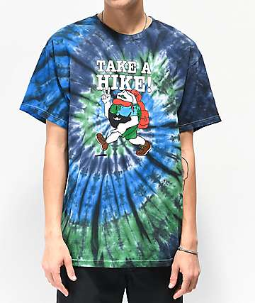 Teenage Take A Hike Blue, Green & Black Tie Dye T-Shirt