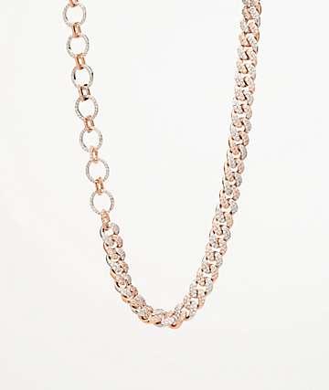 "The Gold Goddess Two Tone Diamond 13"" Choker Necklace"