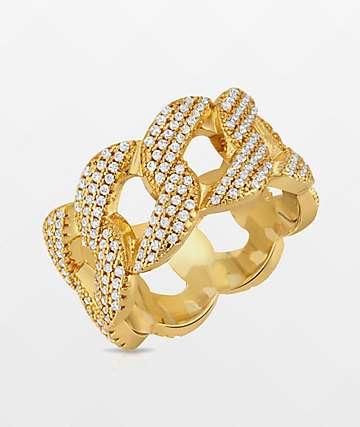 The Gold Gods 10mm Curve anillo de oro amarillo cubano
