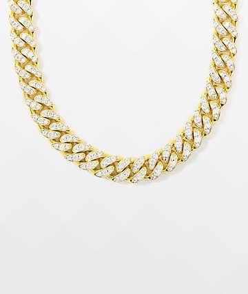 "The Gold Gods 10mm Miami Cuban 18"" collar de cadena de oro amarillo"