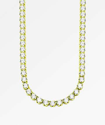 "The Gold Gods 6mm Diamond Tennis 20"" Gold Chain Necklace"