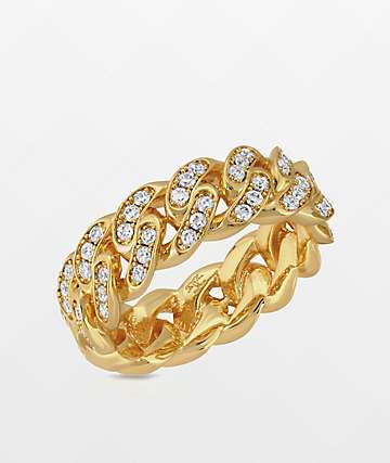 The Gold Gods 6mm anillo de oro amarillo cubano