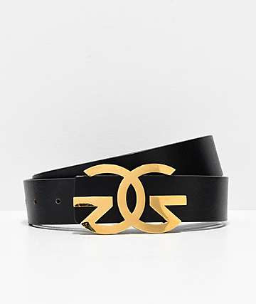 The Gold Gods Black & Gold Leather Belt