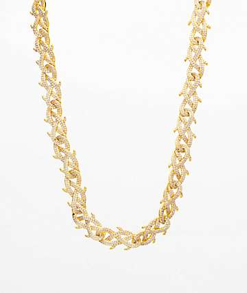 "The Gold Gods Crown Of Thorns Diamond 18"" Gold Chain Necklace"