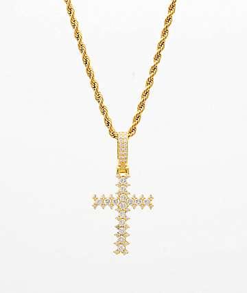 "The Gold Gods Flooded Diamond Cross 22"" cadena de oro"