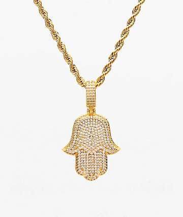 """The Gold Gods Hamsa Hand 22"""" collar de oro amarillo"""