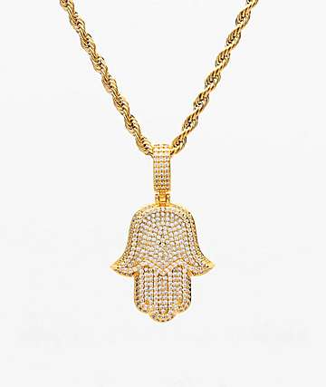 "The Gold Gods Hamsa Hand Micro Diamond 22"" Yellow Gold Necklace"