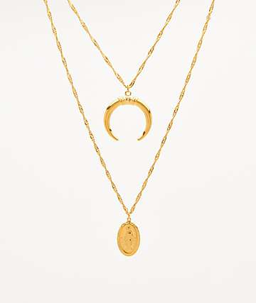 "The Gold Gods Layered Crescent and Virgin Mary 20"" Gold Chain Necklace"