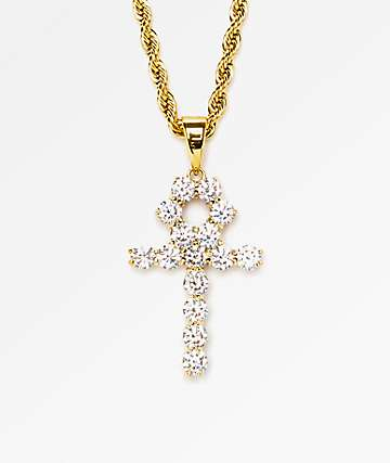 """The Gold Gods collar 22"""" con colgante Ankh de diamantes"""