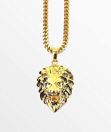 The Gold Gods collar con colgante de león micro