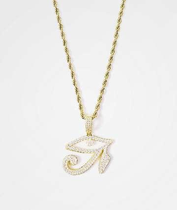 """The Gold Gods collar de cadena de 22"""" con colgante de ojo de Horus"""