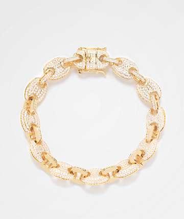 The Gold Gods pulsera de oro amarillo con enlaces de diamantes