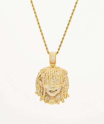 "The Gold Gods x Lil Pump Full Iced Face collar de oro amarillo de 22"""