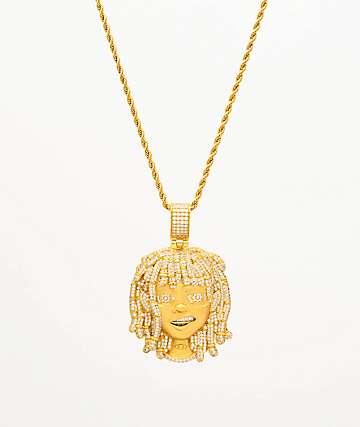 """The Gold Gods x Lil Pump Iced Face collar de oro amarillo de 22"""""""