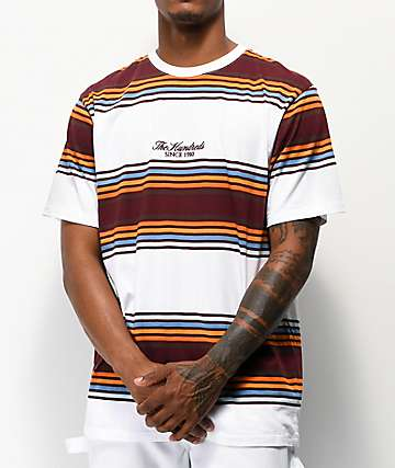 The Hundreds Board Burgundy & White Striped Knit T-Shirt