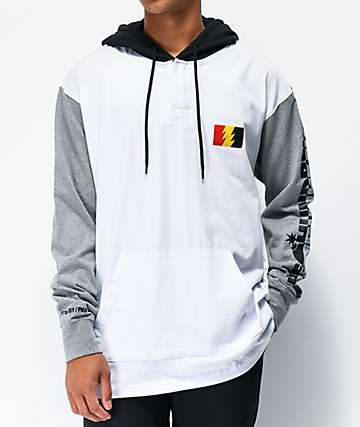 The Hundreds Miller White & Grey Hooded Long Sleeve T-Shirt