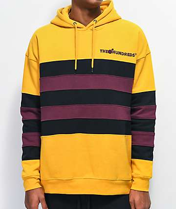The Hundreds Passons Gold & Burgundy Stripe Hoodie