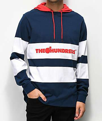 The Hundreds Ridge Navy Hooded Long Sleeve Shirt