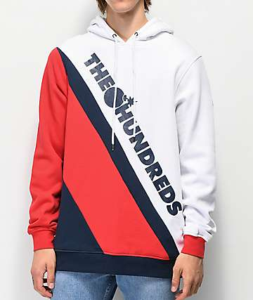 The Hundreds Slope White & Red Hoodie
