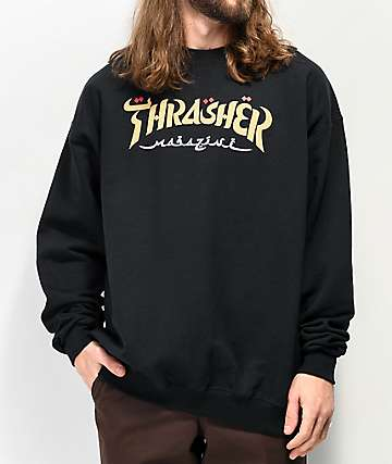 Thrasher Calligraphy Black Crew Neck Sweatshirt