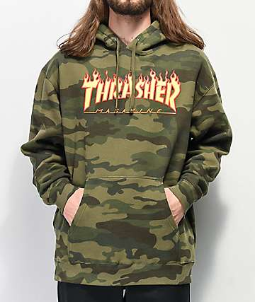 Thrasher Flame Logo Forest Camo Hoodie