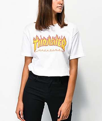 Thrasher Flame Logo camiseta blanca