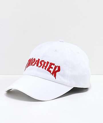 Thrasher Neckface Invert Old Timer White Strapback Hat