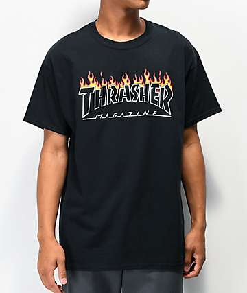 Thrasher Scorched Outline Black T-Shirt