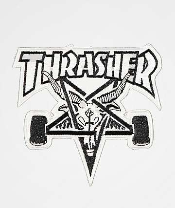 Thrasher Skate Goat White & Black Patch