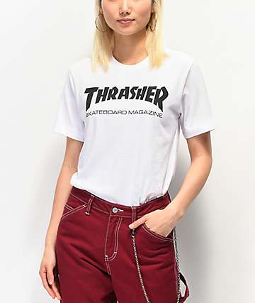 Thrasher Skate Mag White Boyfriend Fit T-Shirt