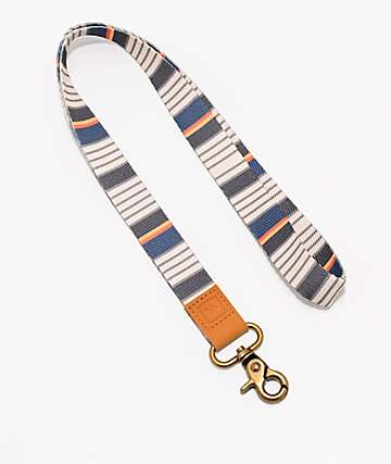 Thread Wander White, Olive & Grey Stripe Lanyard