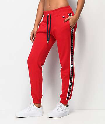 Tommy Hilfiger Logo Tape Red Jogger Sweatpants