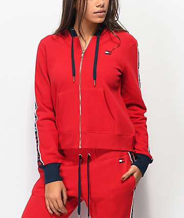 Tommy Hilfiger Logo Tape Red Zip Hoodie