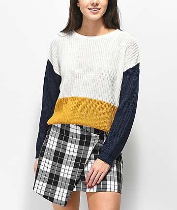 Trillium Colorblock Yellow, White, & Blue Sweater
