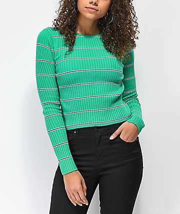 Trillium Green Stripe Fitted Sweater