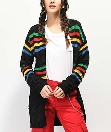 Trillium Multistripe Colorblock Black Cardigan