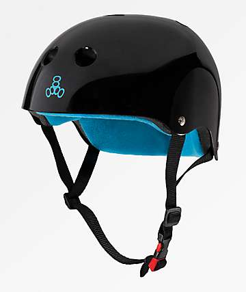Triple Eight Certified Sweatsaver Glossy Black & Blue Multi-Sport Helmet