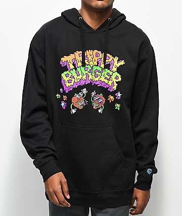 Trippy Burger All-Star Drip Black Hoodie